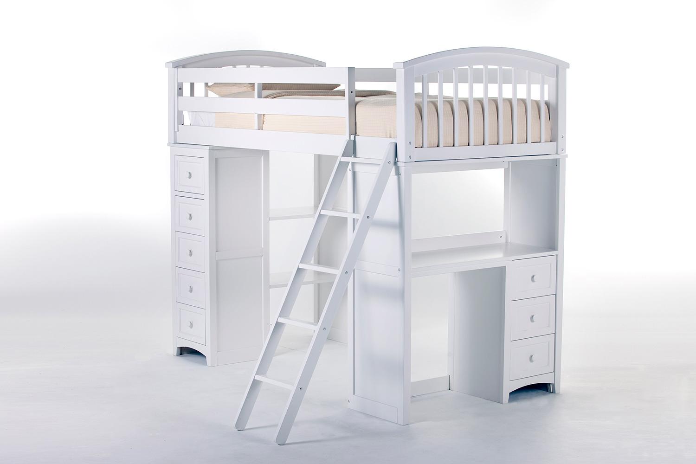 NE Kids School House Student Loft Bed - White