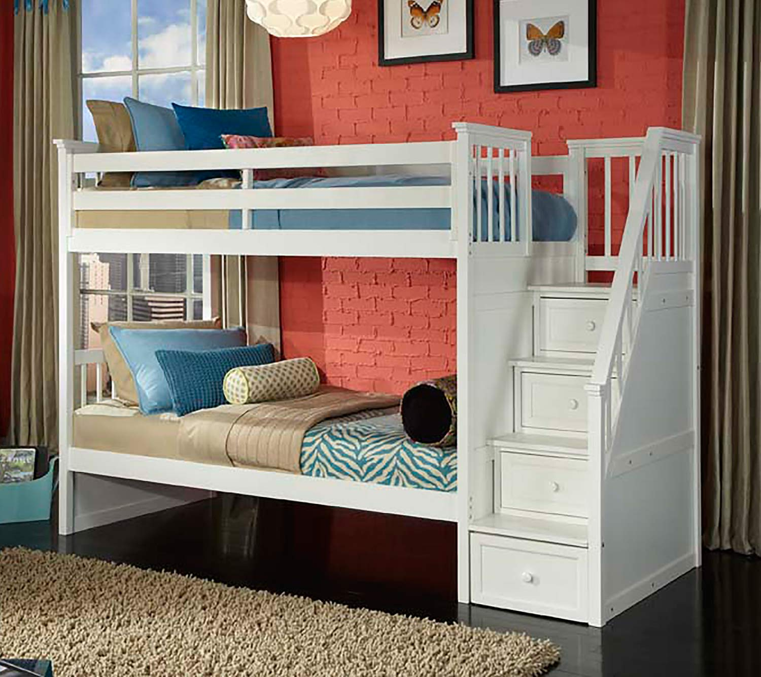 NE Kids School House Stair Bunk Bed - White Finish