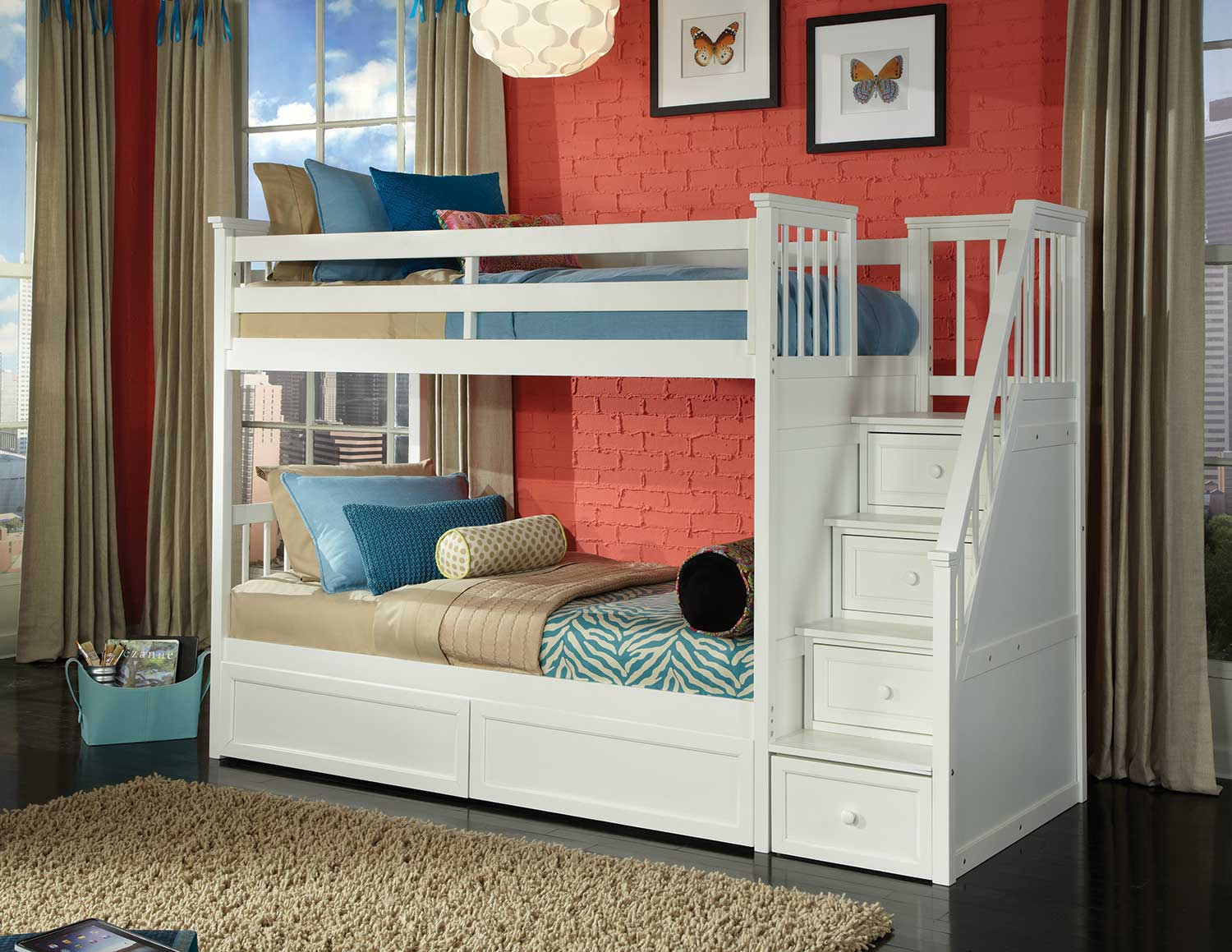 NE Kids SchoolHouse Stair Bunk Bed with Storage - White Finish