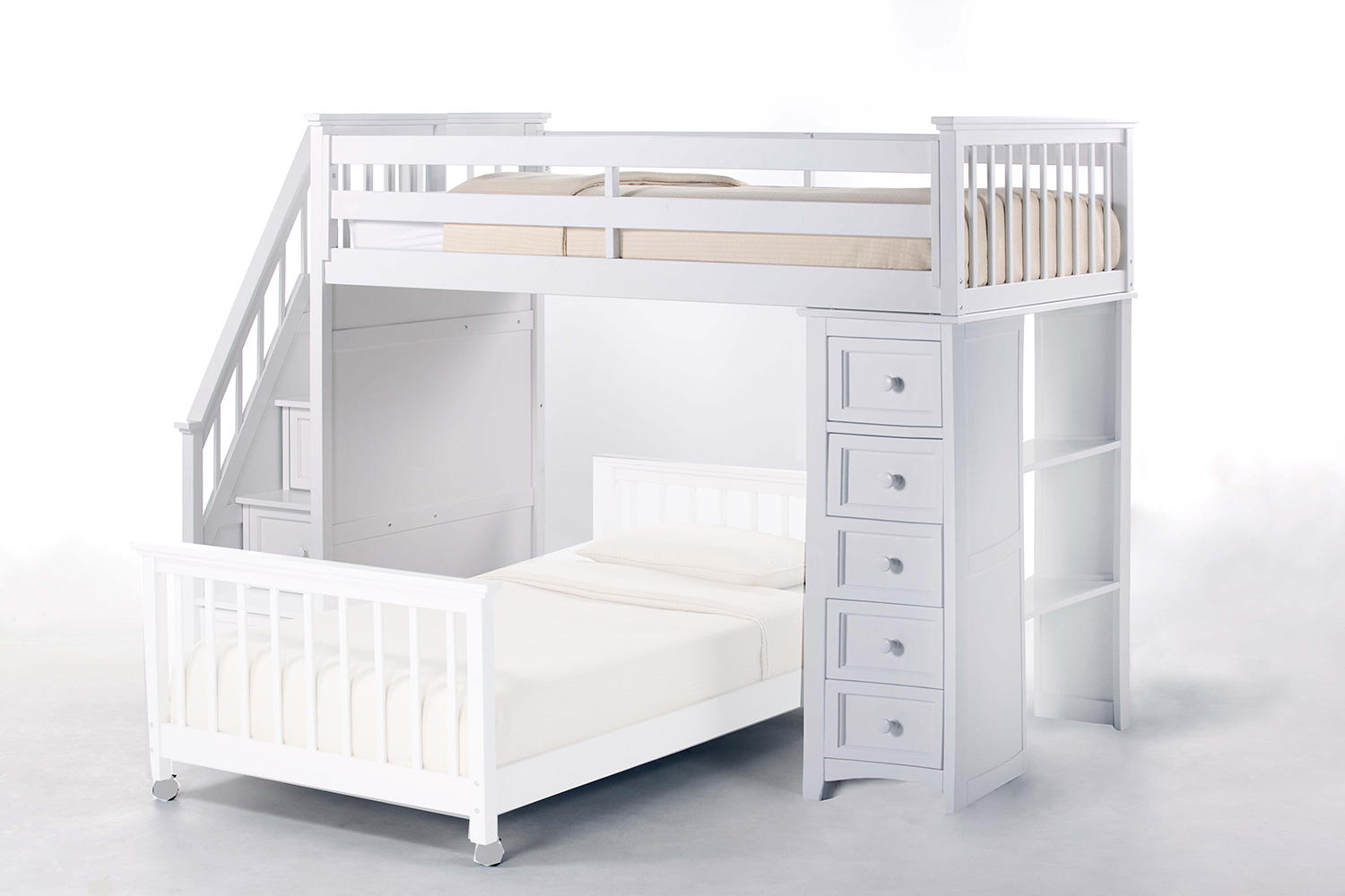 NE Kids SchoolHouse Stair Loft Bed with Chest End - White