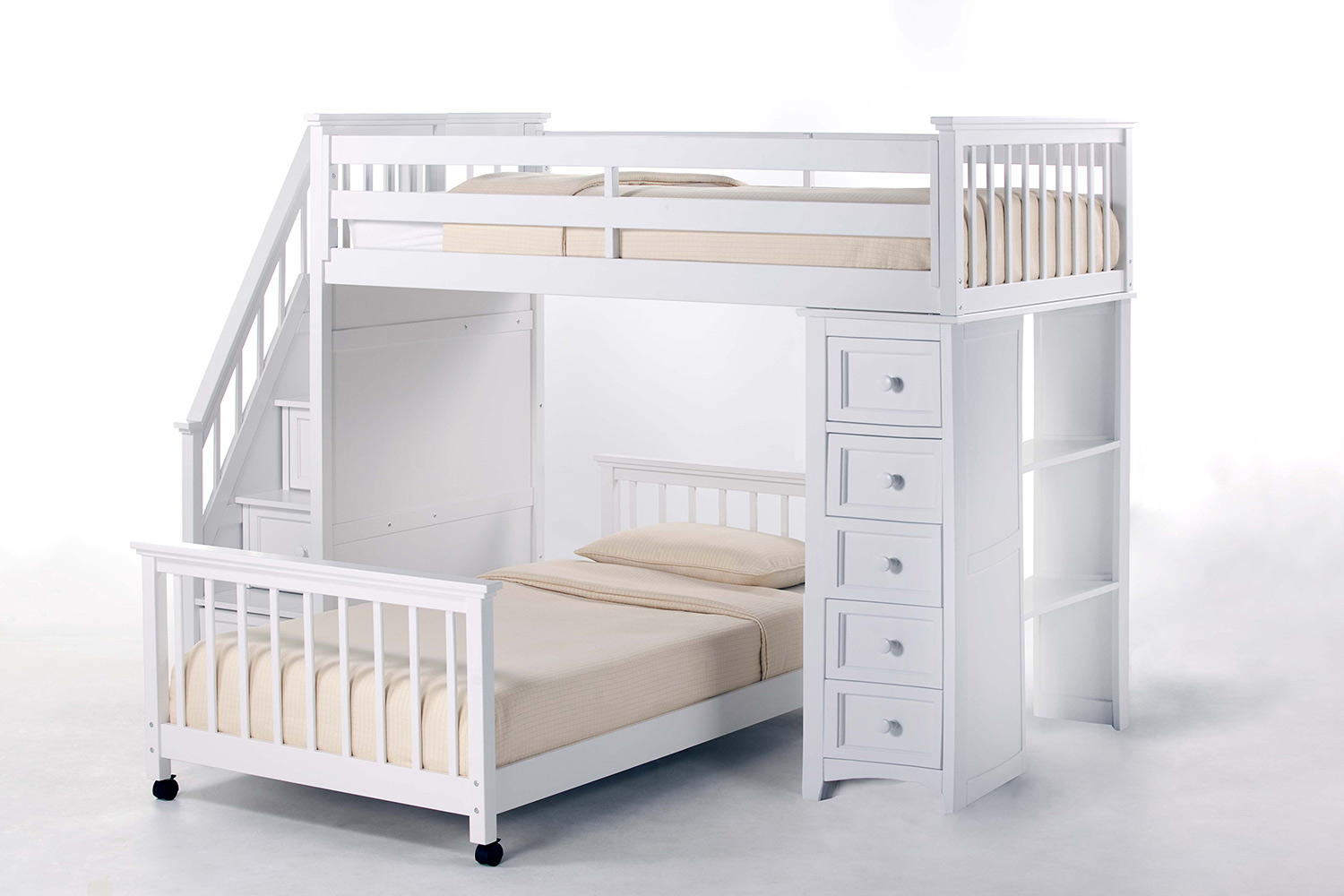 NE Kids School House Twin Stair Loft Bed with Chest End and Twin Lower Bed - White