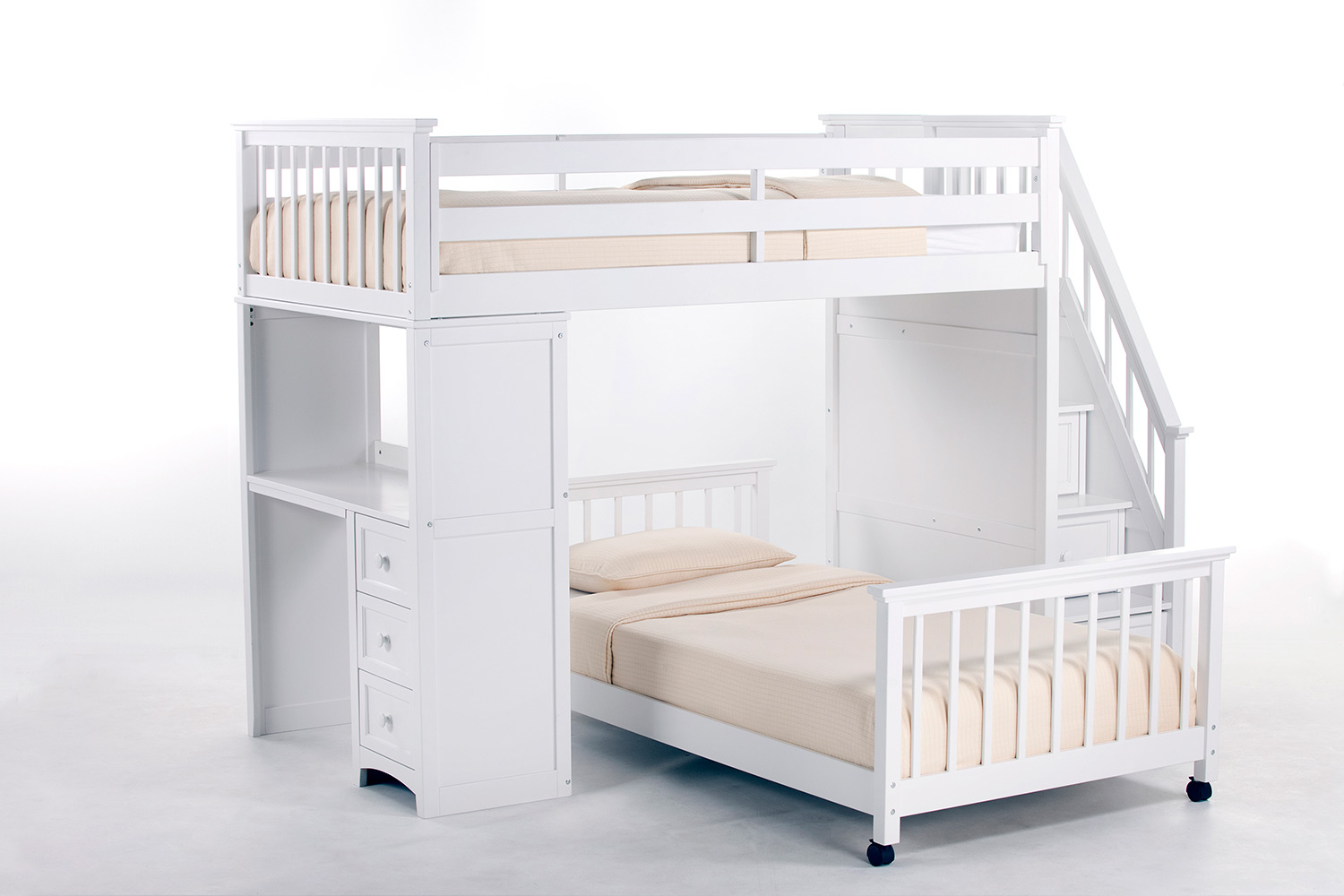 NE Kids School House Twin Stair Loft Bed with Desk End and Full Lower Bed - White