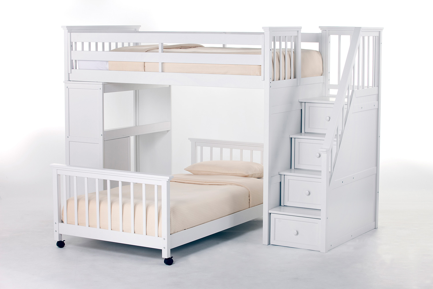 NE Kids SchoolHouse Twin Stair Loft Bed with Desk End and Twin Lower Bed - White
