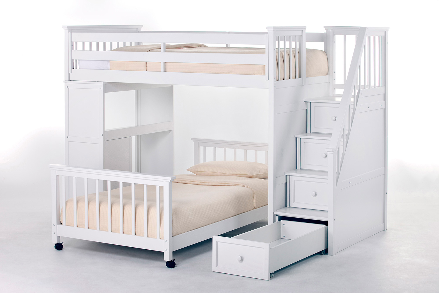 NE Kids School House Twin Stair Loft Bed with Desk End and Twin Lower Bed - White