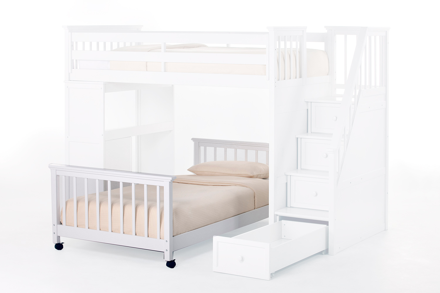 NE Kids School House Full Lower Stair Bed - White