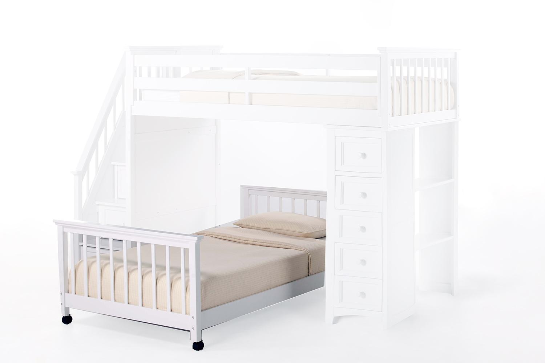 NE Kids School House Twin Lower Stair Bed - White