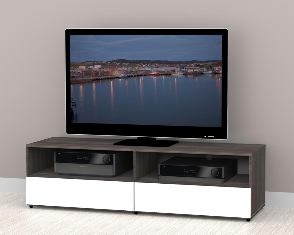 nexera allure 60 inch tv stand 2 open shelves 2 drawers - Nexera