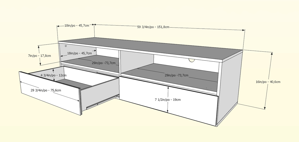 Nexera Allure 60 inch TV Stand - 2 Open Shelves, 2 Drawers