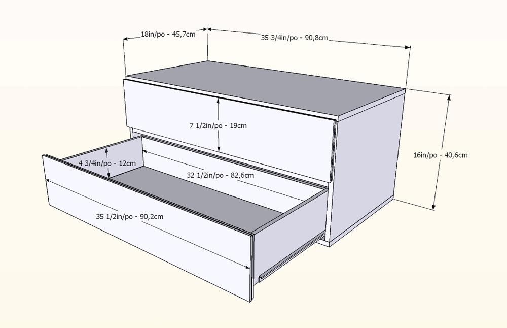 Nexera Allure 36 inch Storage Unit - 2 Drawers