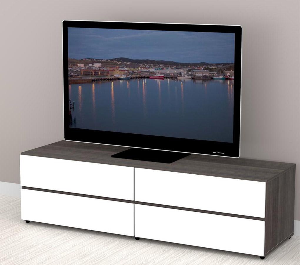 Nexera Allure 60 Inch Tv Stand 2 Flip Doors Drawers