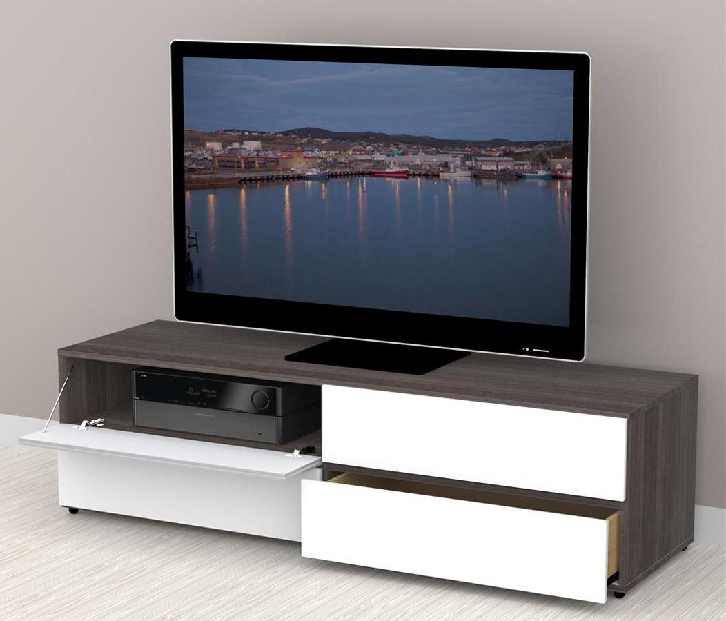 Nexera Allure 60 inch TV Stand - 2 Flip Doors, 2 Drawers
