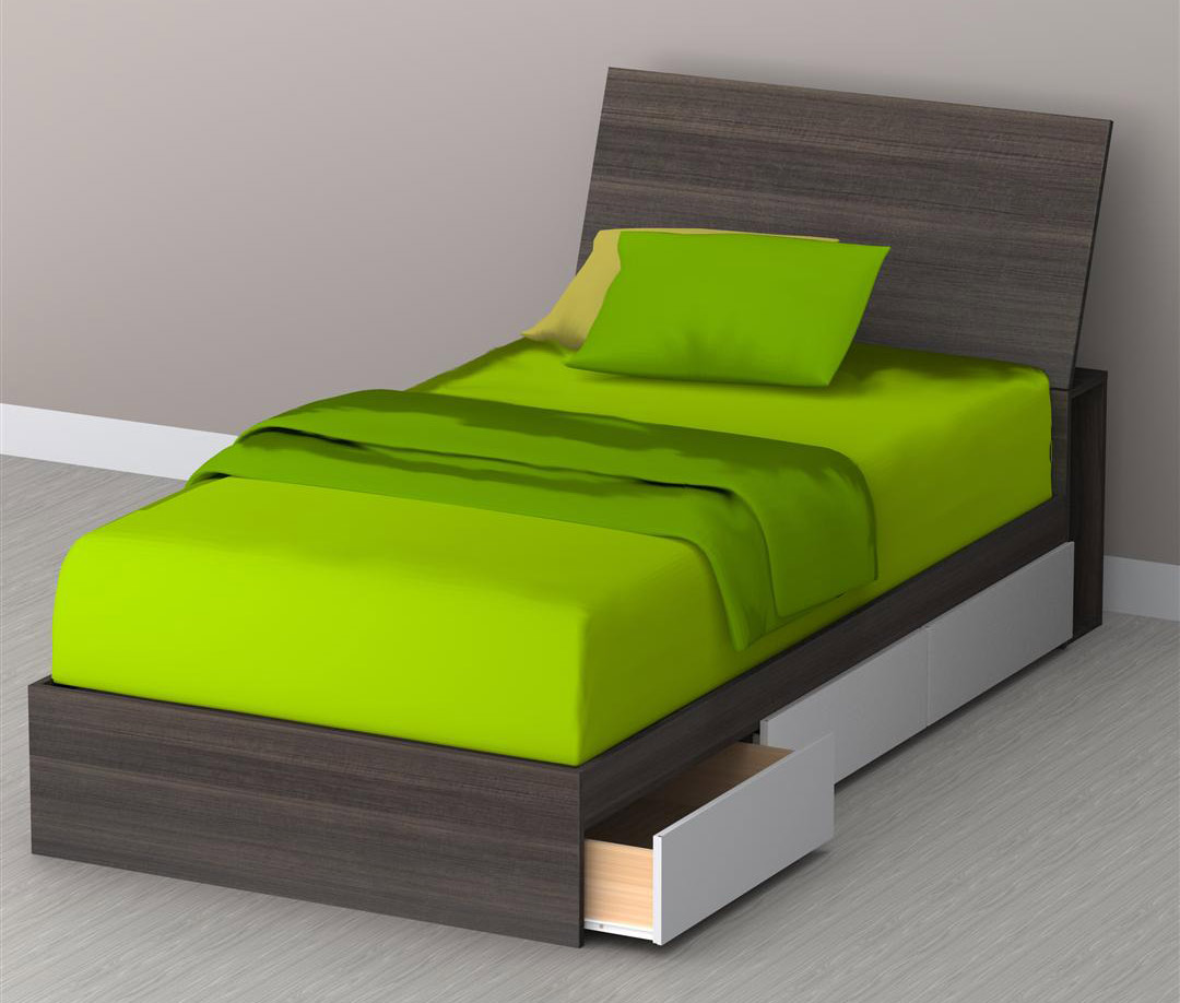 Nexera Allure Twin Storage Bed