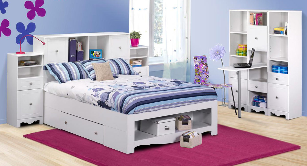 Excellent Nexera Pixel Bed Low Full Set Pixel Youth Full Size Low Bookcase Storage Bedroom Collectio Product Photo