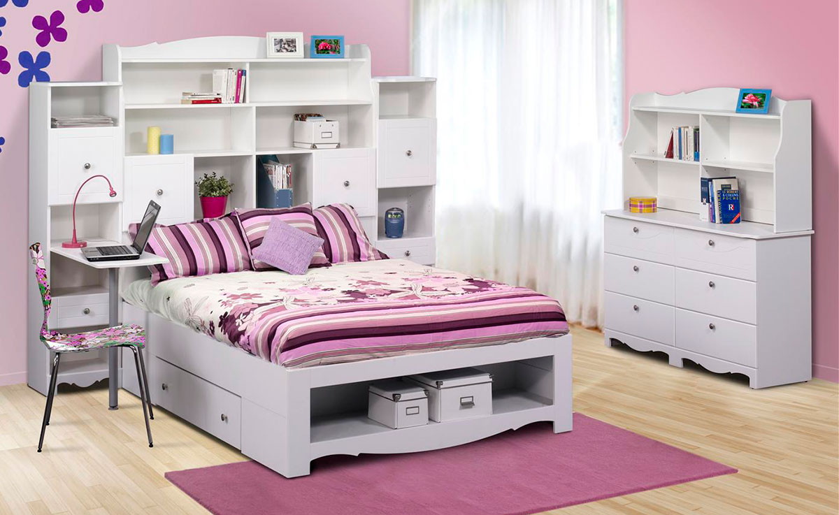 Nexera pixel youth full size tall bookcase storage bedroom for Youth bedroom furniture sets