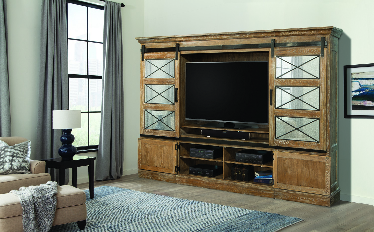 Parker House Annapolis Sliding Door Entertainment Wall & Parker House Annapolis Sliding Door Entertainment Wall PH-ANN-1063-4 ...
