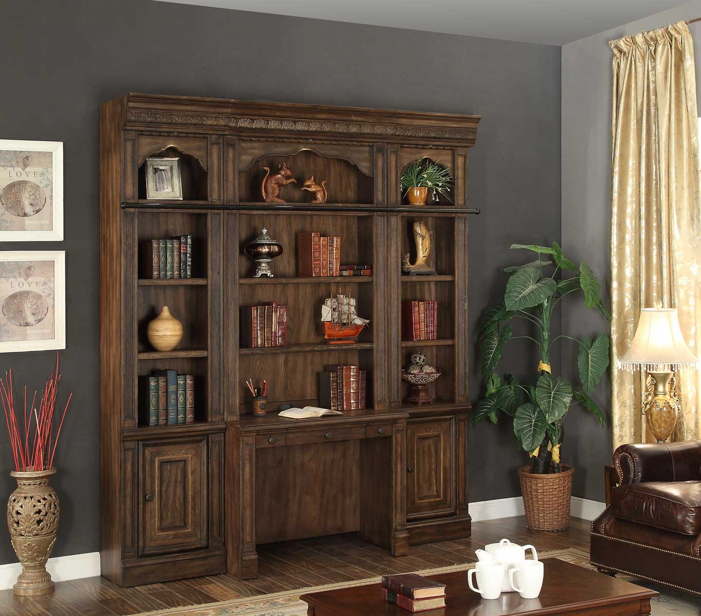 Parker House Aria Wall Desk Library Set