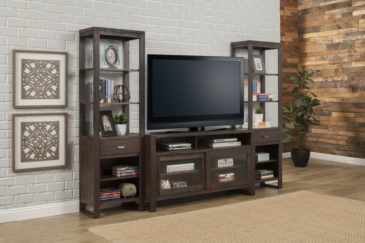 Parker House Brooklyn 60-inch TV Console with Pair of Piers - Antique Burnished Pine
