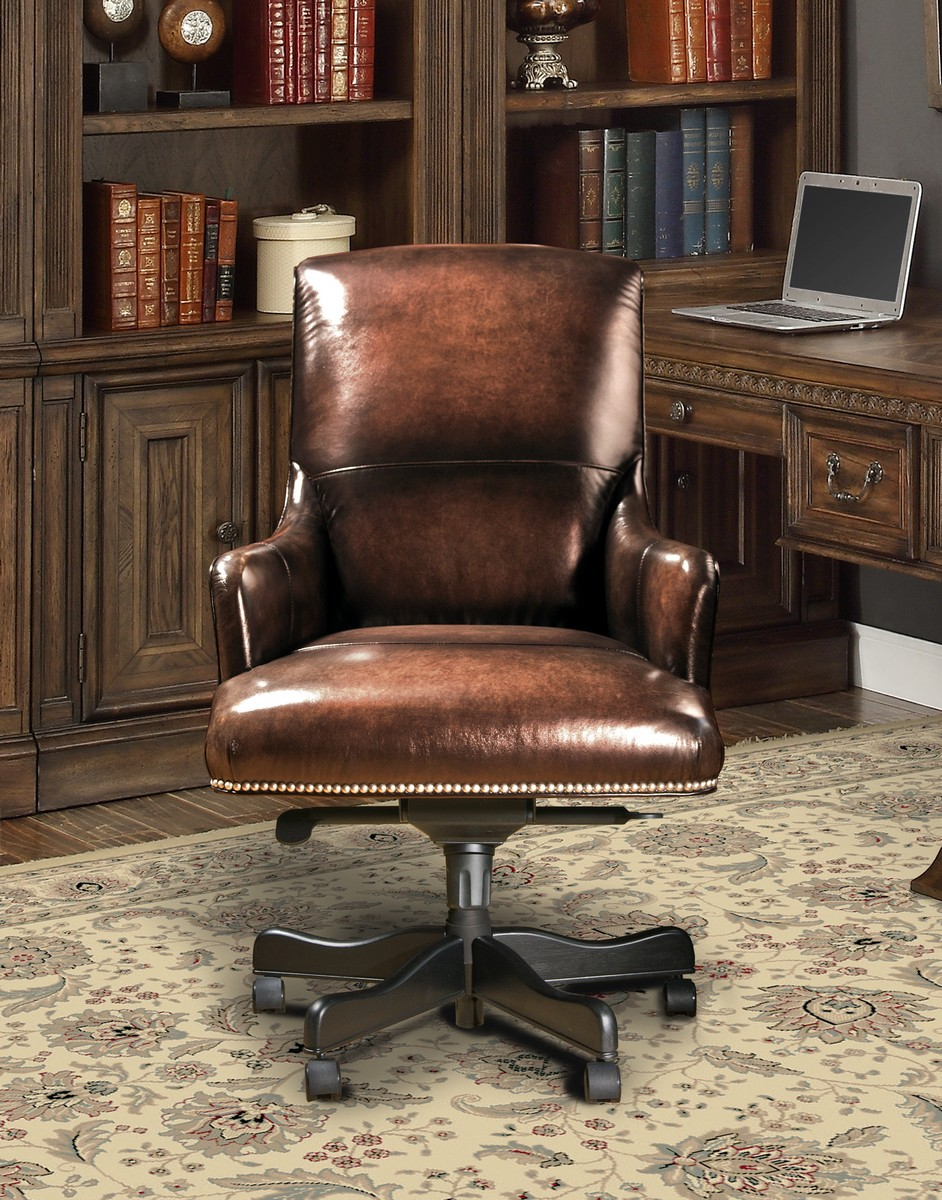 Parker House Prestige DC-106-BR Leather Desk Chair - Brown Wipe