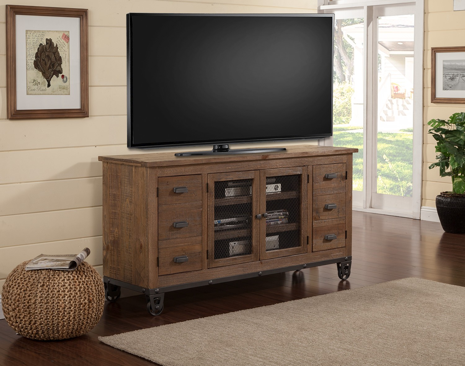 Parker House LaPaz 63-inch Console with wheels - Rustic Worn Pine