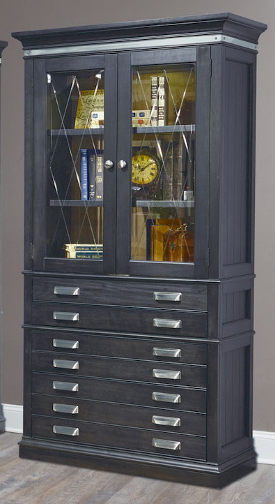 Parker House Lincoln Park 40-inch Glass Door Bookcase - Vintage Ash