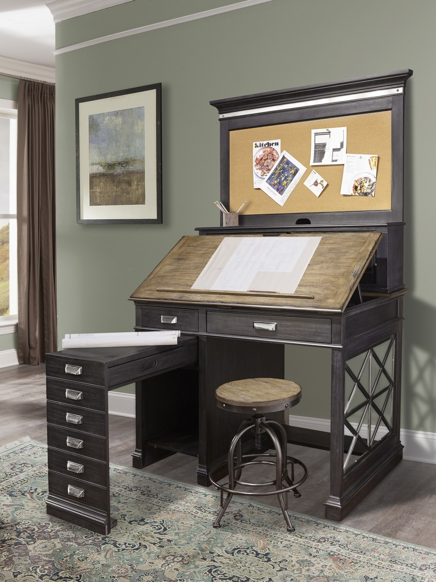 Parker House Lincoln Park Architects Desk with Hutch - Vintage Ash