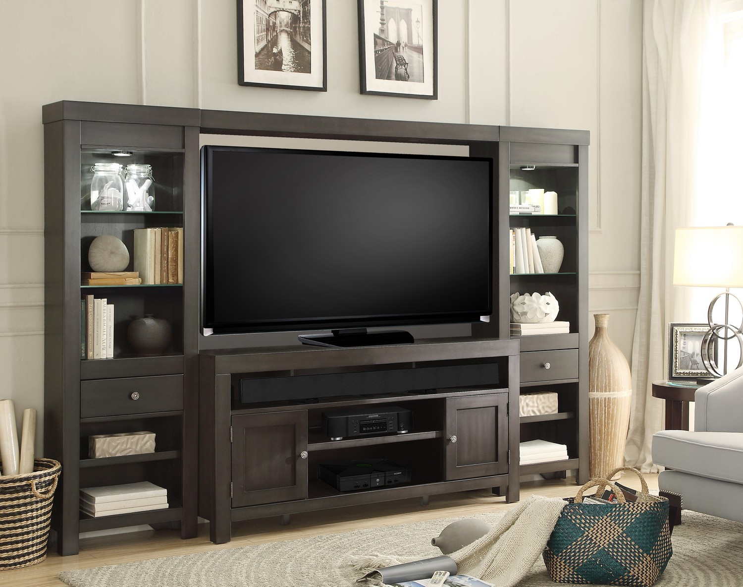 Tall Bedroom Tv Stand Parker House Monterey 4pc Entertainment Tv Wall Unit Ph