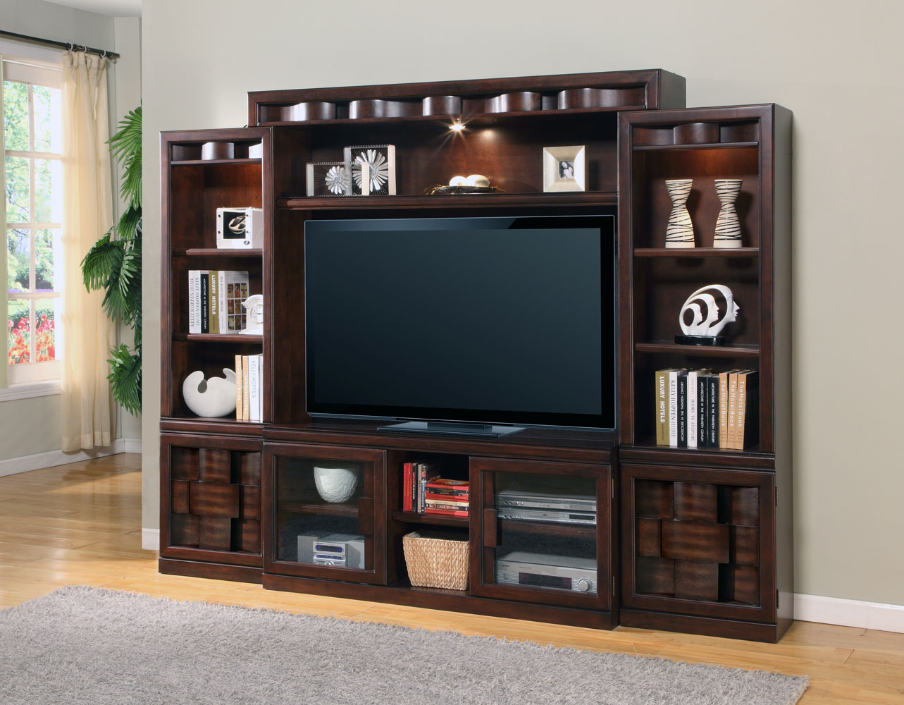 Parker house oslo 4pc wall entertainment center ph osl 101 4 at - How to decorate a wall unit ...