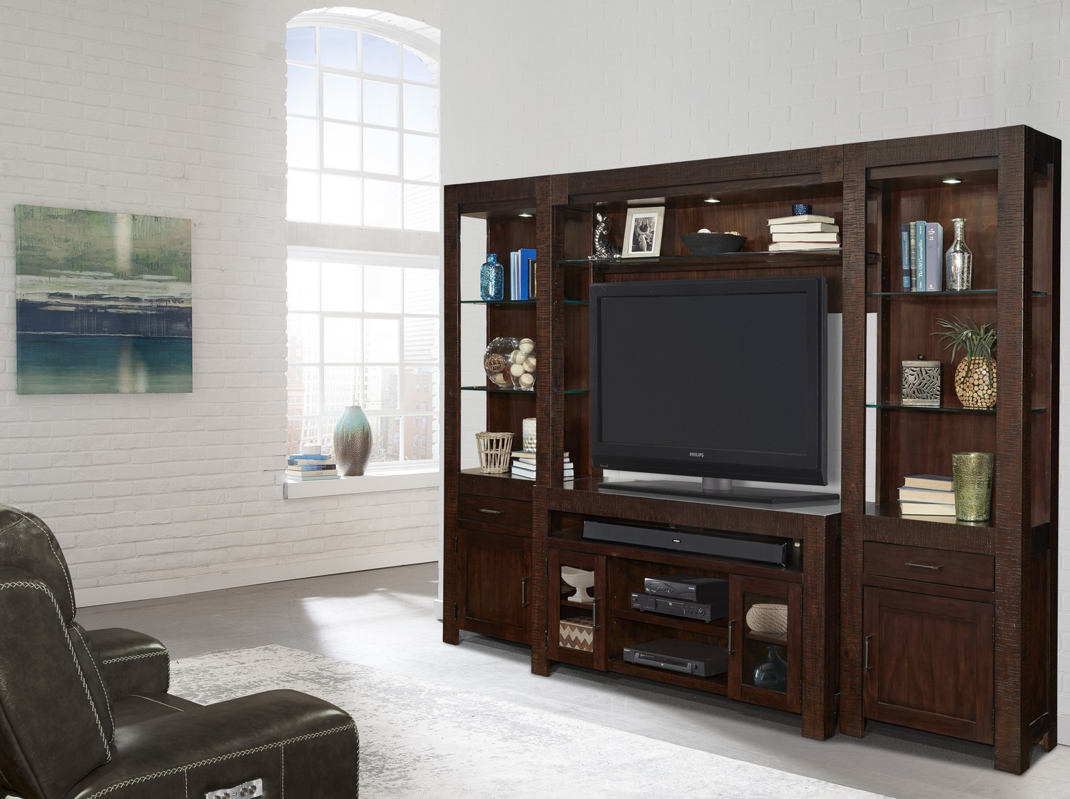 Parker House Roanoke Entertainment Wall Unit With LED Light
