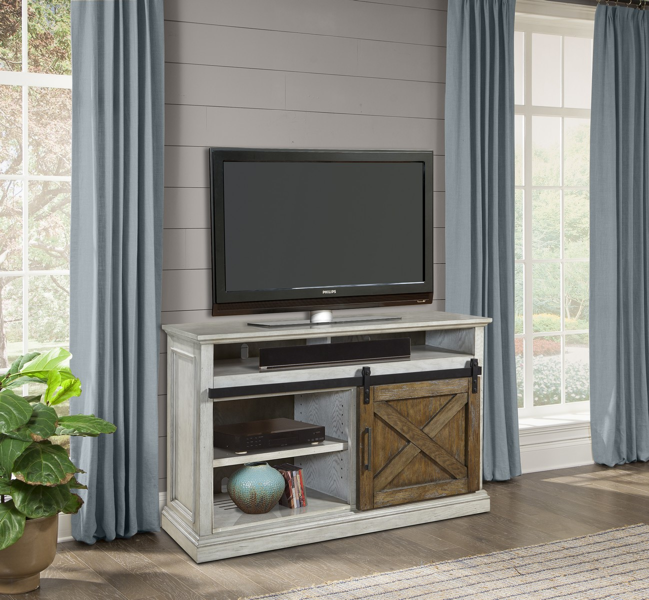 Parker House Savannah 55-inch TV Console with Sliding Doors - Vintage Parchment