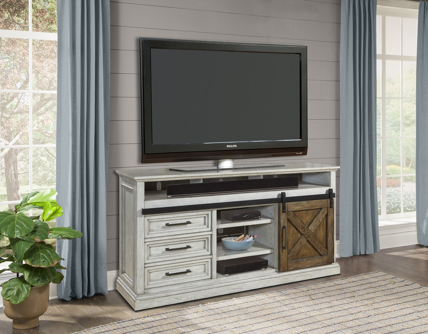 Parker House Savannah 67 Inch Tv Console With Sliding Doors