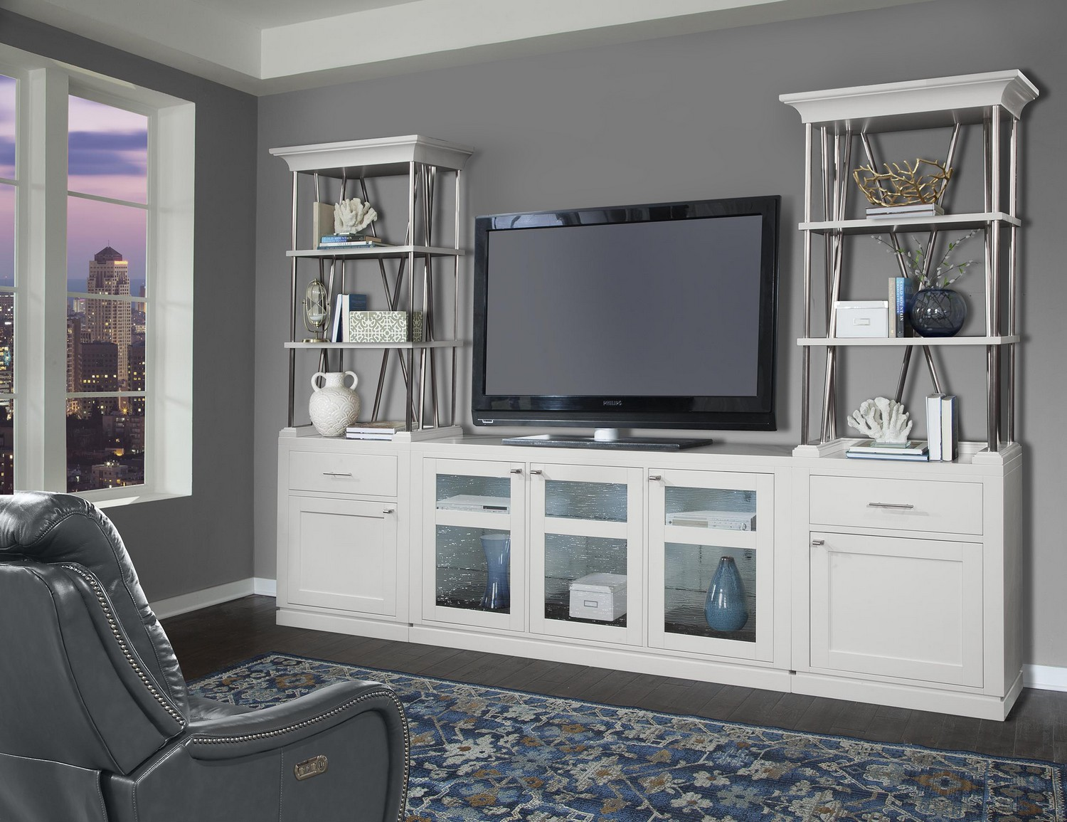 Parker House Skyline 3 Pc Entertainment Wall Cottage White Ph Sky 100 At Homelement