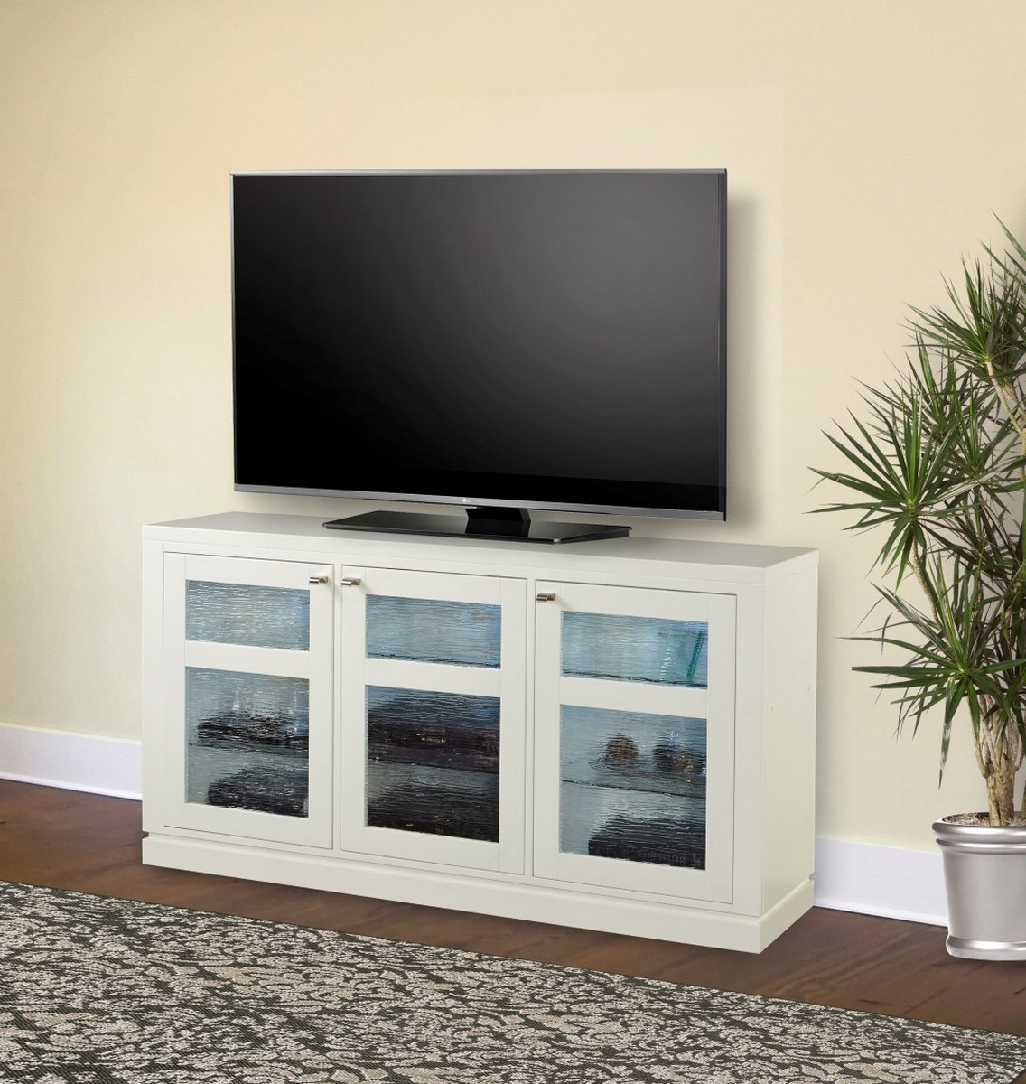 Parker House Skyline 65-inch TV Console with LED Light - Cottage White