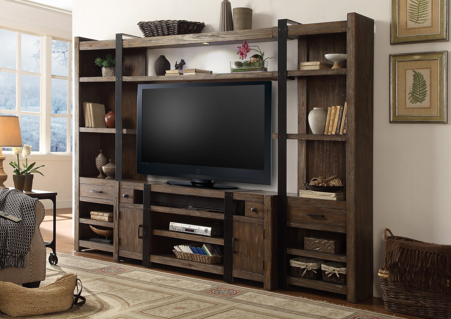 Parker House Tribeca 4pc Entertainment Wall - Weathered Pine