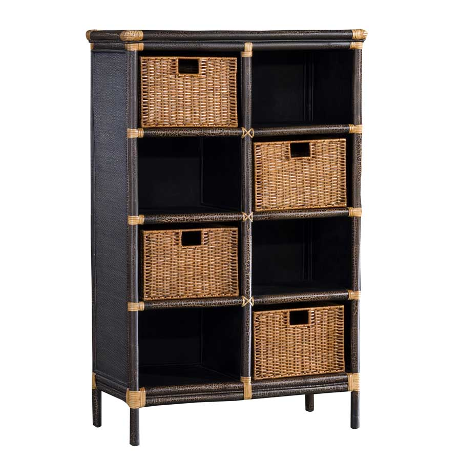 Padma's Plantation Bookcase With Rattan Peel Baskets BK02