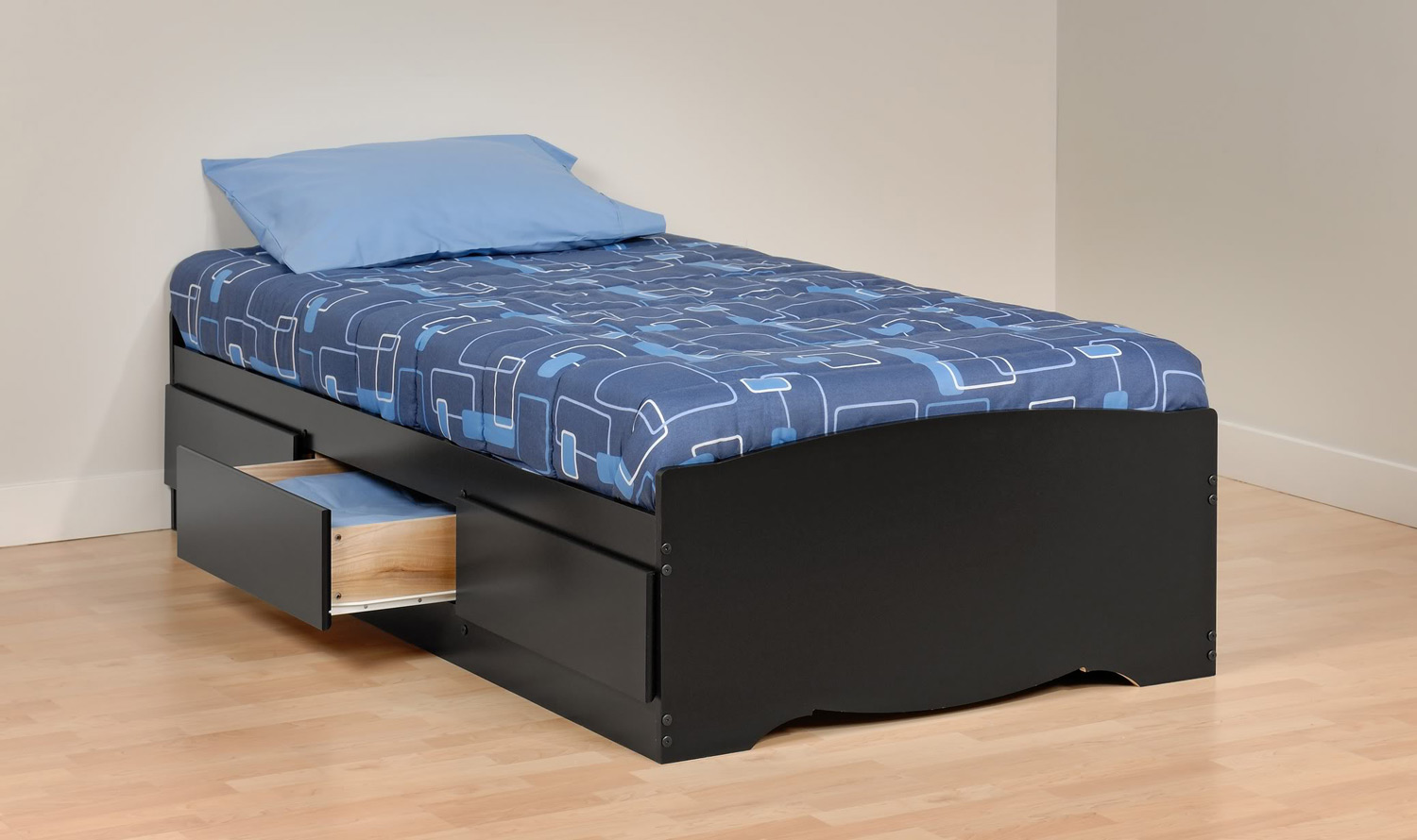 Prepac Mate's Platform Storage Bed with 3 Drawers - Black