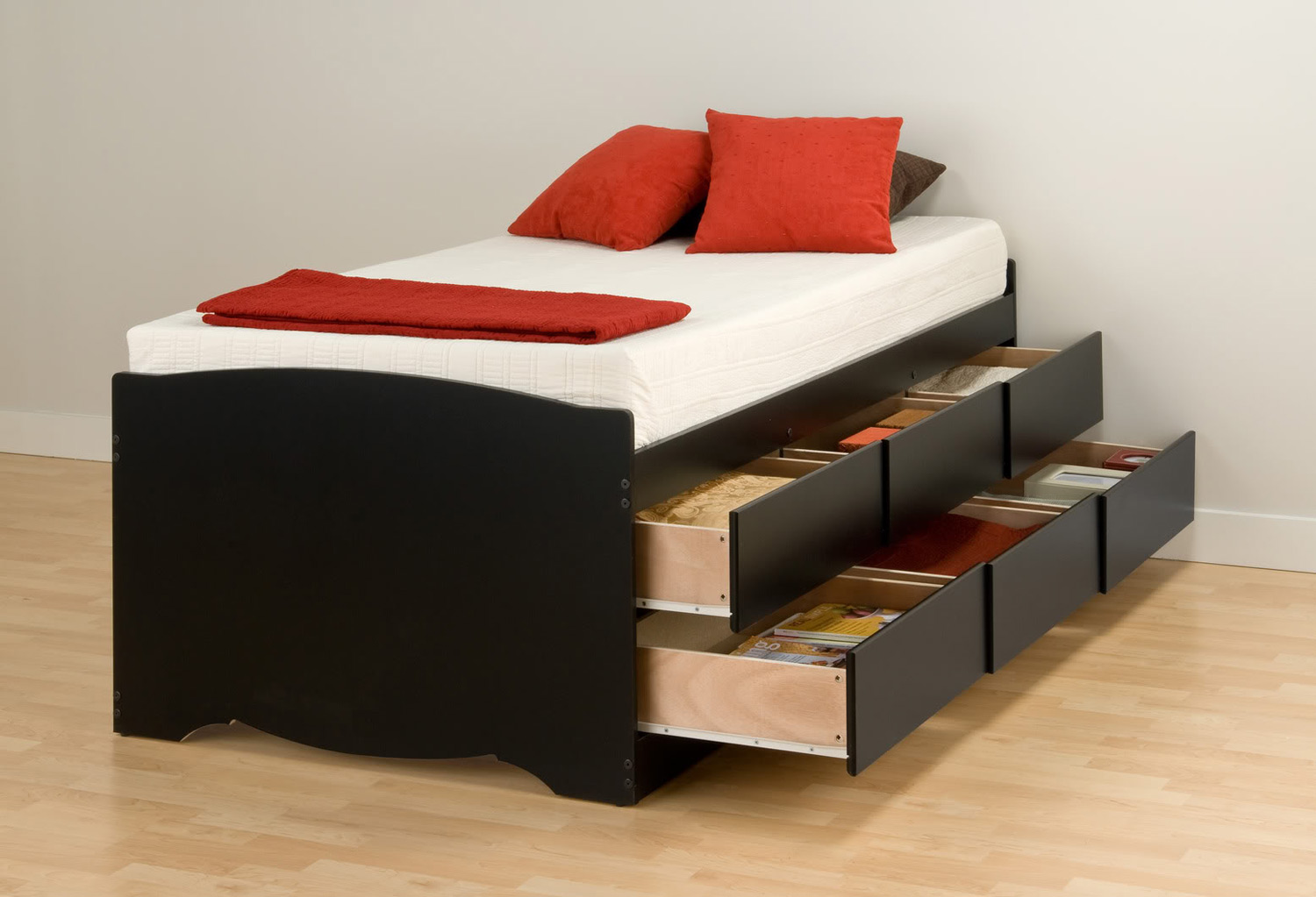 Prepac Captain's Platform Storage Bed with 6 Drawers - Black