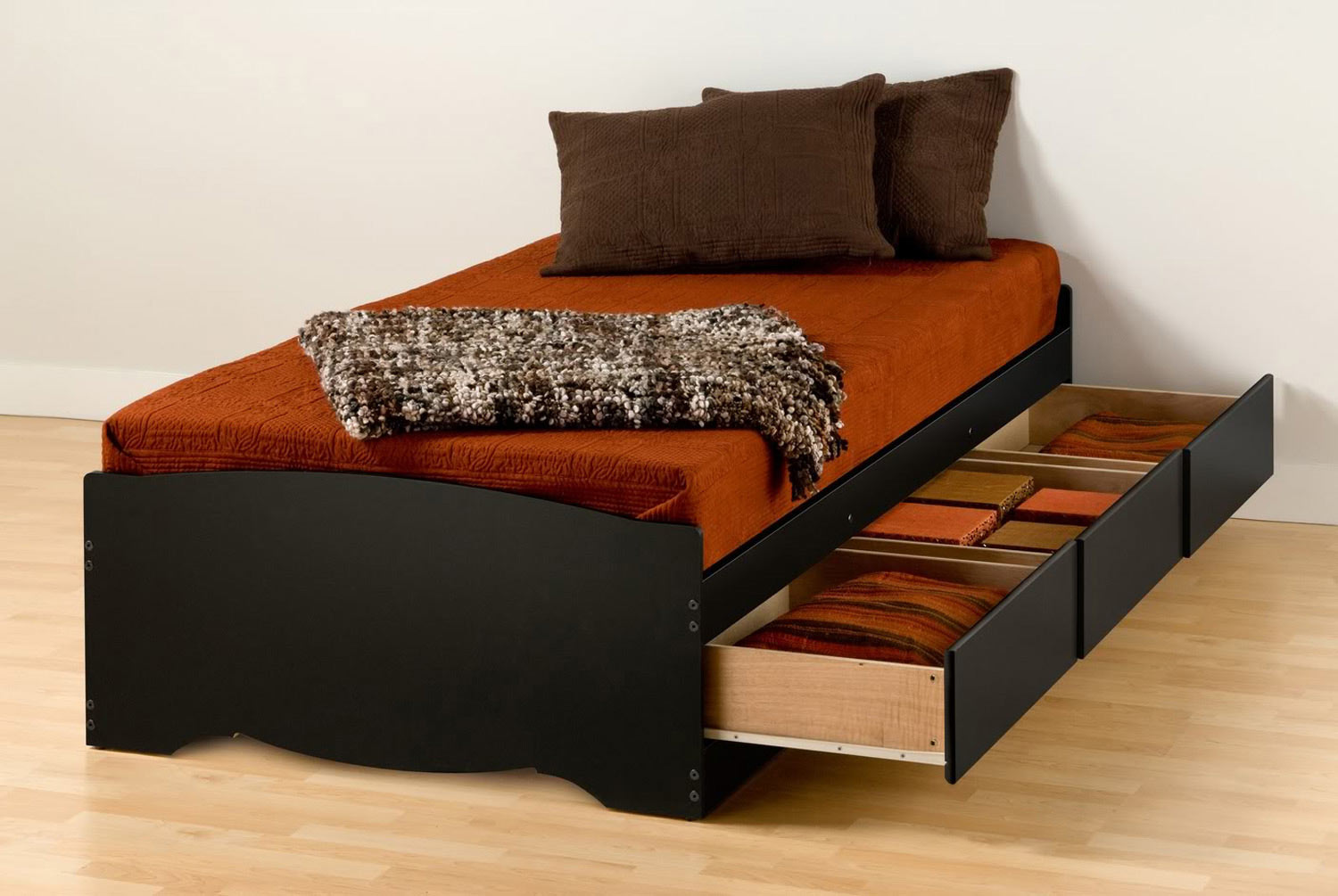 Prepac XL Mate's Platform Storage Bed with 3 Drawers - Black