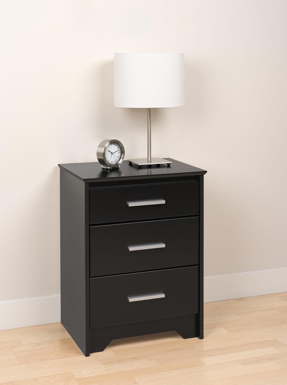 Prepac Coal Harbor 3 Drawer Tall Night Stand - Black