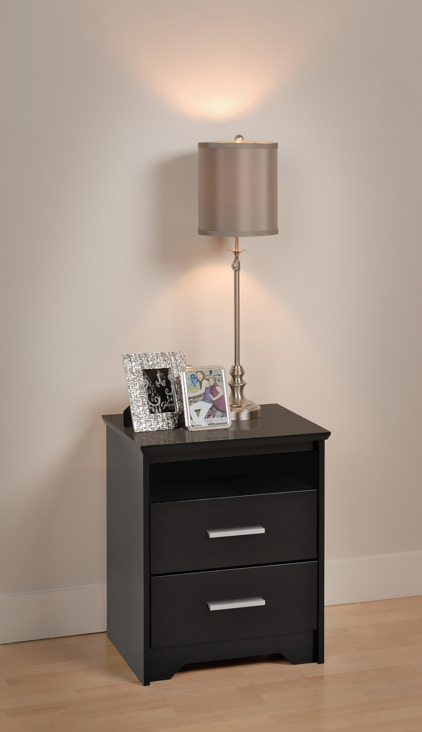 Prepac Coal Harbor 2 Drawer Tall Night Stand with Open Shelf - Black