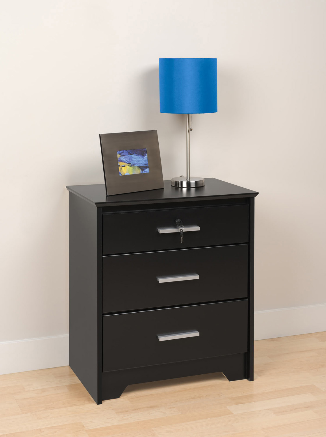 Prepac Coal Harbor 3 Drawer Tall & Wide Night Stand with Lock - Black