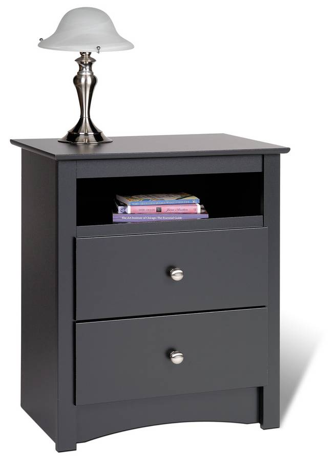 Prepac Black Sonoma 2 Drawer Tall Night Table with Open Shelf