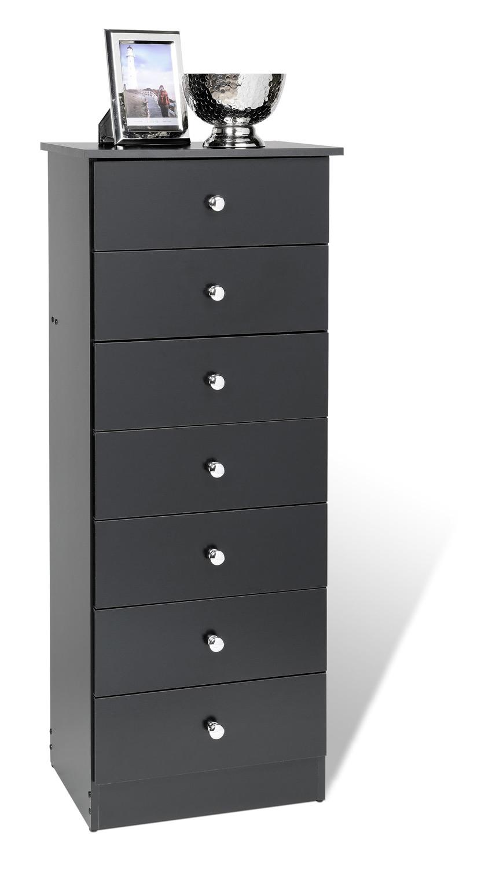 prepac edenvale 7 drawer tall chest   black bep 2050 7 at