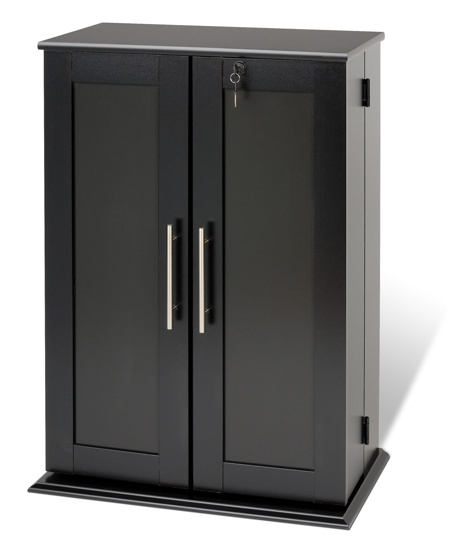Prepac Locking Media Storage Cabinet with Shaker Doors - Black