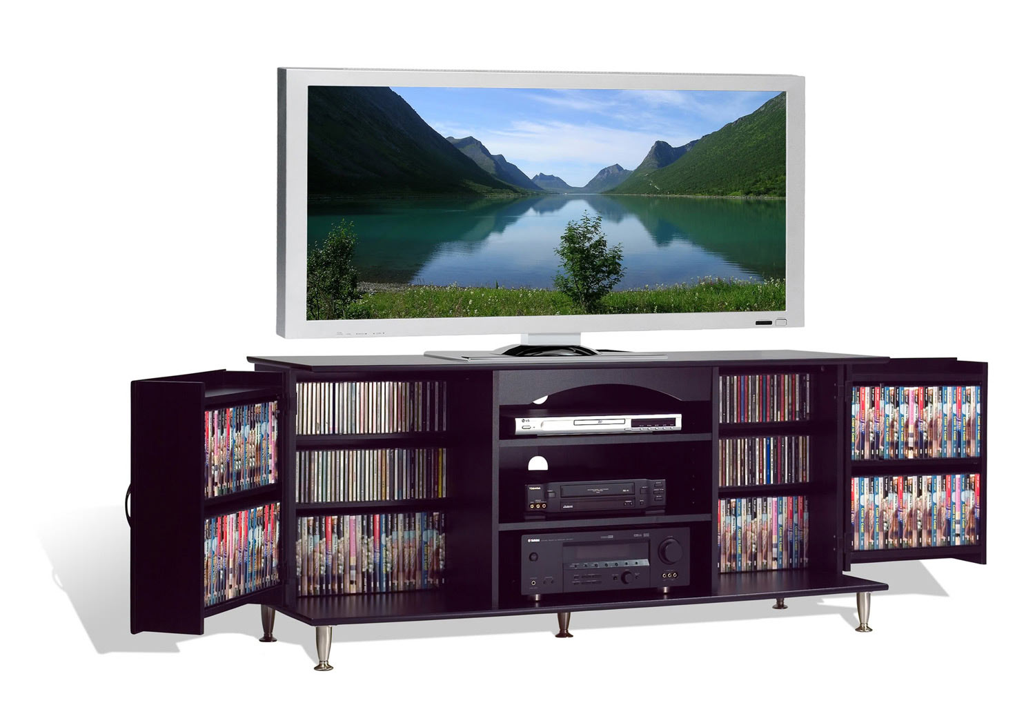Prepac Premier Large Flat Panel Plasma / LCD TV Console with Media Storage - Black