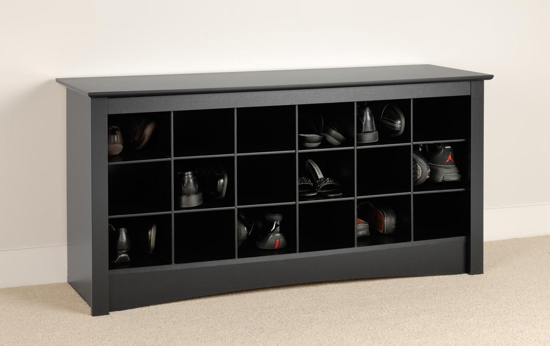 Prepac Shoe Storage Cubbie Bench - Black