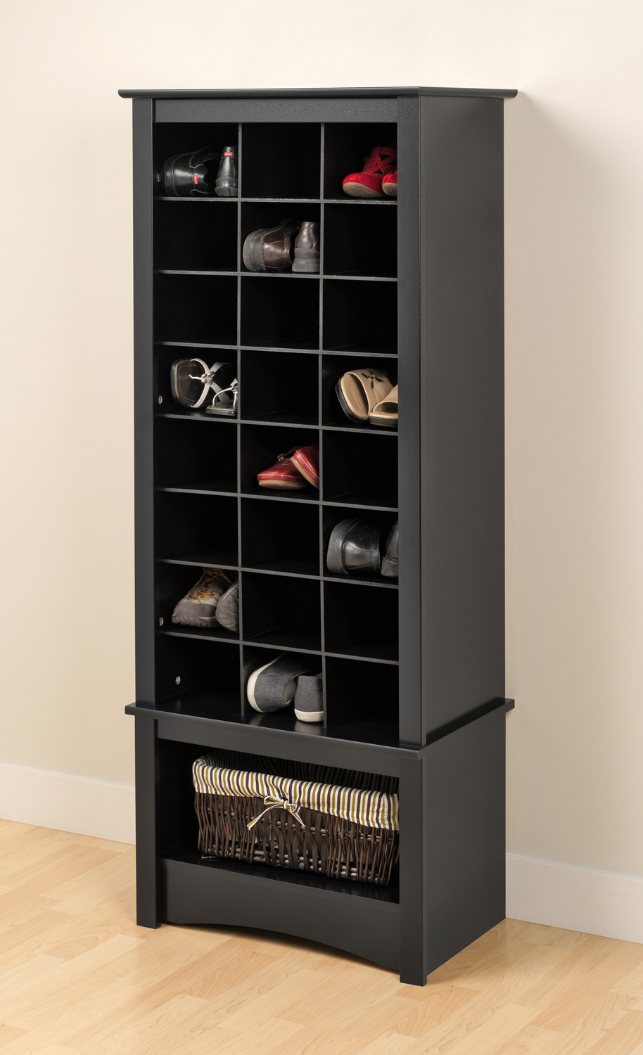 Prepac Tall Shoe Cubbie Cabinet - Black BUSR-0008-1 at ...