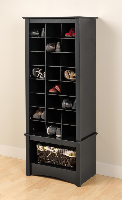 Prepac Tall Shoe Cubbie Cabinet - Black