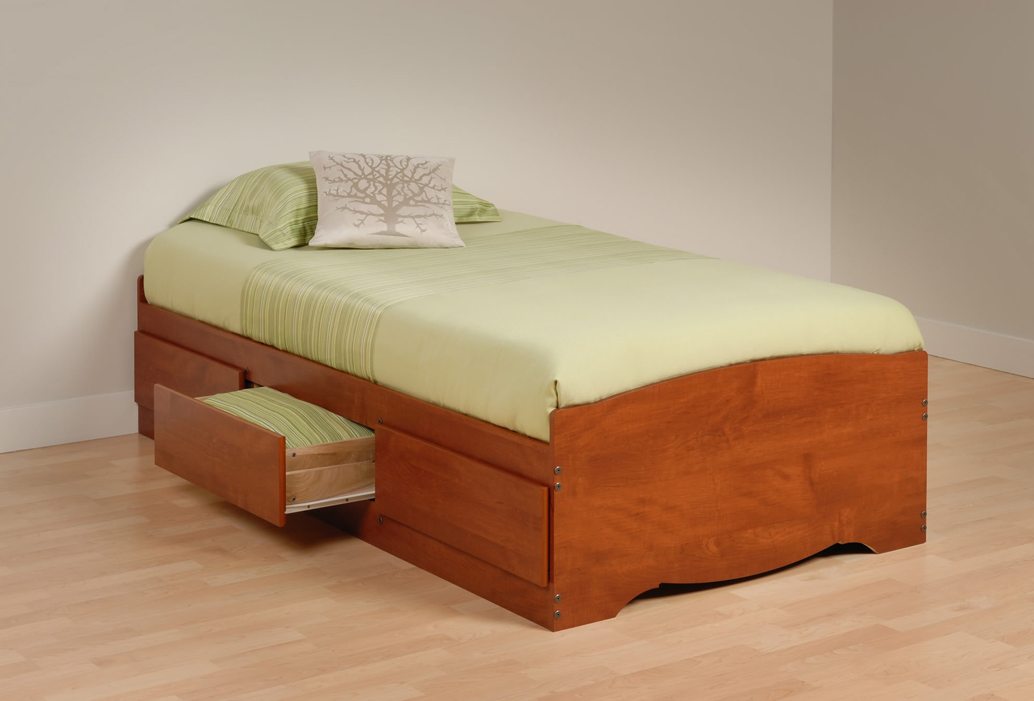 Prepac Mate's Platform Storage Bed with 3 Drawers - Cherry