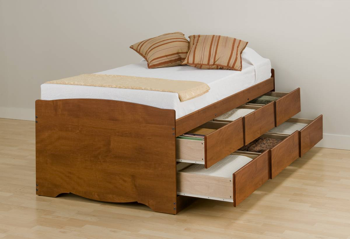 Prepac Cherry Tall Platform Storage Bed