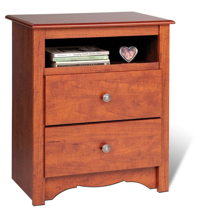 Prepac Cherry Monterey 2 Drawer Tall Night Table with Open Shelf